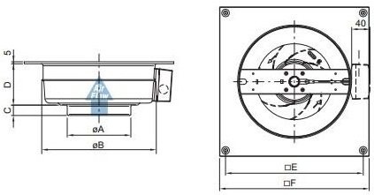 Габаритные размеры канального вентилятора Systemair KV 200 M
