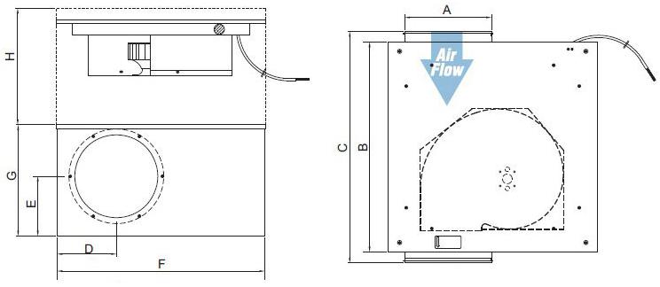 Габаритные размеры канального вентилятора Systemair KVO 100