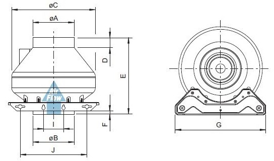 Габаритные размеры канального вентилятора Systemair RVK sileo 200E2-L1