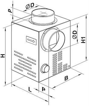 Габаритные размеры каминного вентилятора ВЕНТС КАМ 150 ЭкоДуо