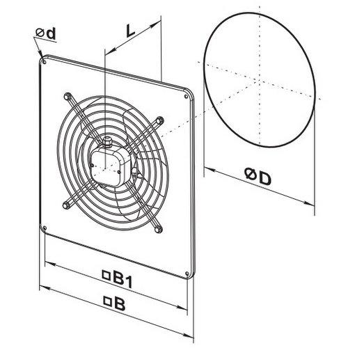 Габаритные размеры вентилятора ВЕНТС ОВ 4Д 250