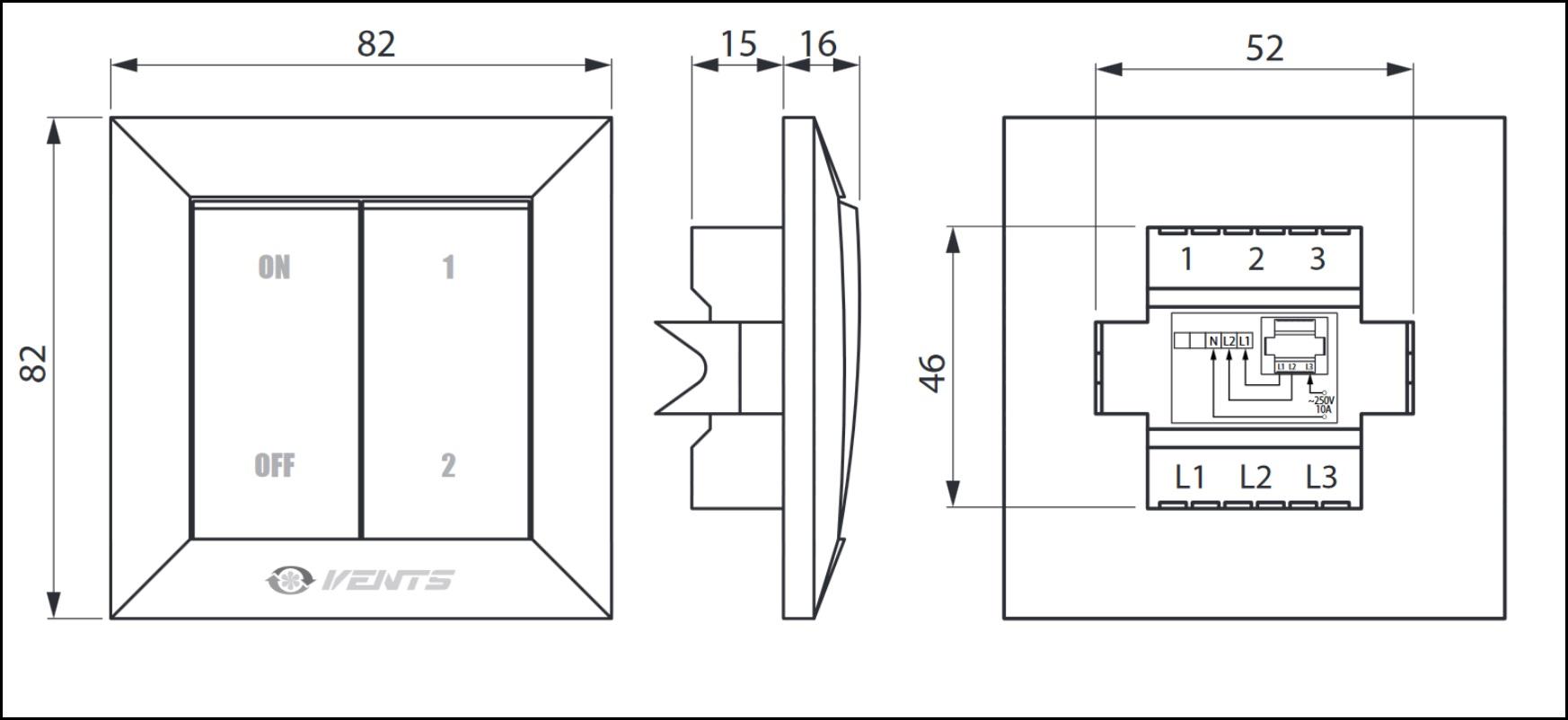 Габаритные размеры переключателя скоростей ВЕНТС П2-10