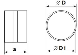 Габаритные и монтажные размеры 111 Соединитель d100 для круглых каналов