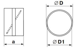 Габаритные и монтажные размеры 1111 Соединитель d100 с обратным клапаном