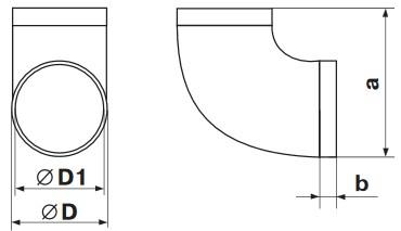 Габаритные и монтажные размеры 121 Колено d 100 для круглых каналов