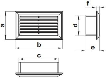 Габаритные и монтажные размеры 872 Решетка торцевая с регуятором 60x204 для плоских каналов