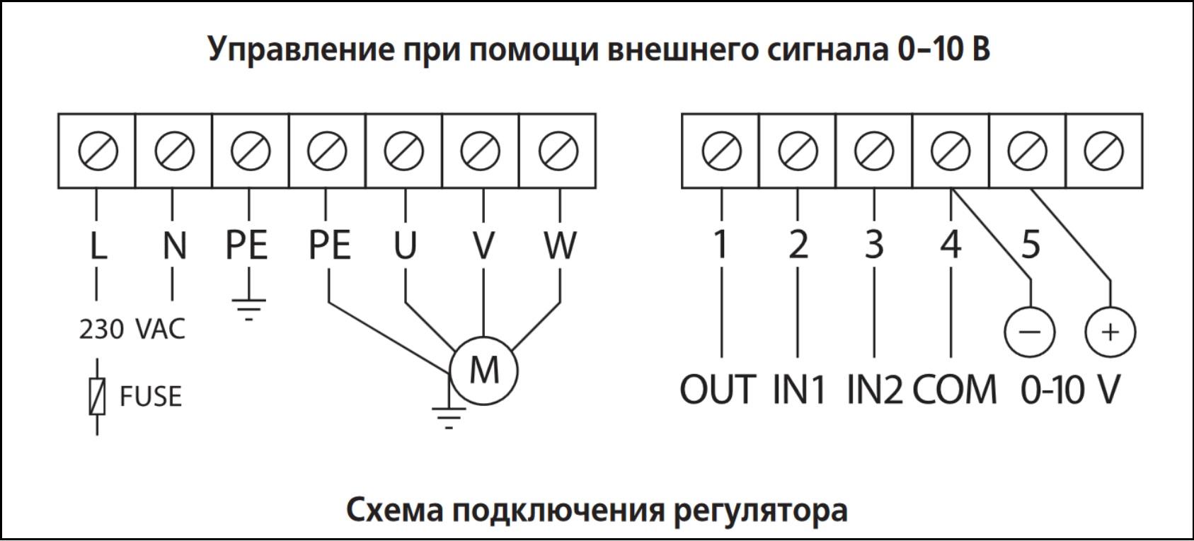 Схема подключения регулятора скорости airone
