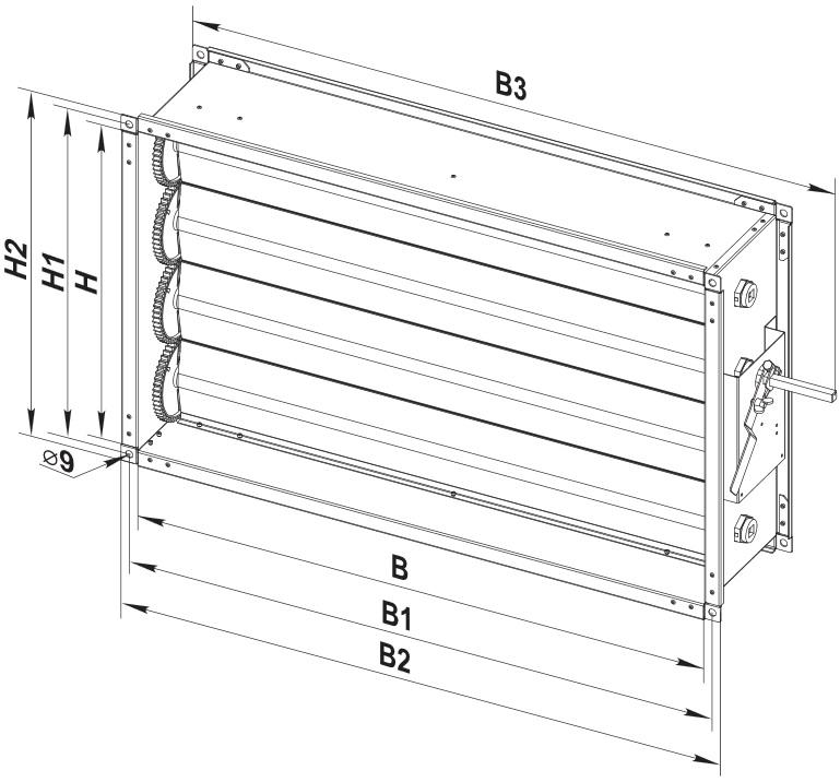 Монтажные и габаритные размеры регулятора расхода воздуха ВЕНТС РРВ 500x300