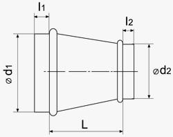 Габаритные и монтажные размеры перехода ВЕНТС 1000/560 для круглых каналов