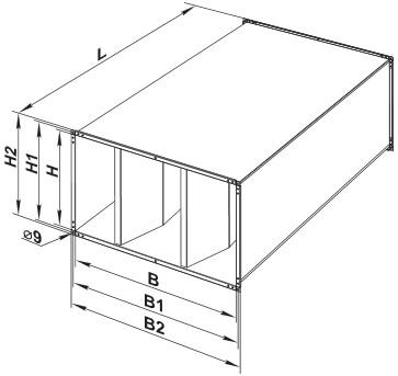 Габаритные и монтажные размеры шумоглушителя ВЕНТС СР 1000x500