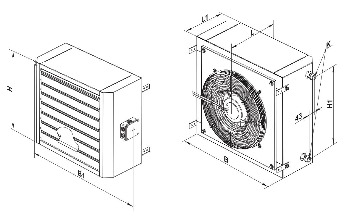 Габаритные размеры водяного тепловентилятора ВЕНТС АОВ 25
