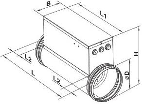 Схема размеров ВЕНТС НК-200-2,4-1