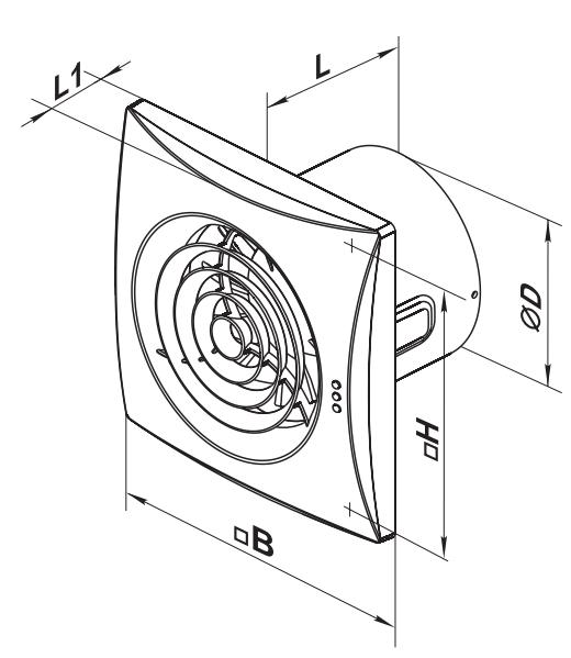 Габаритные размеры вытяжного вентилятора ВЕНТС Квайт
