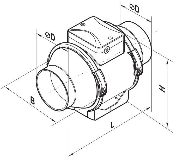 Схема габаритов вентилятора ВЕНТС ТТ 100