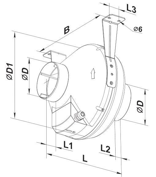 Монтажные габариты вентилятора ВЕНТС ВК 150