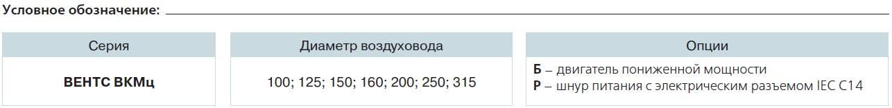 Условное обозначение ВЕНТС ВКМц 100 Б