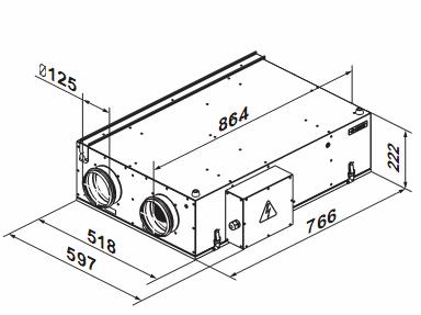Габаритные размеры вентиляционной установки ВЕНТС ВУЭ2 200 П