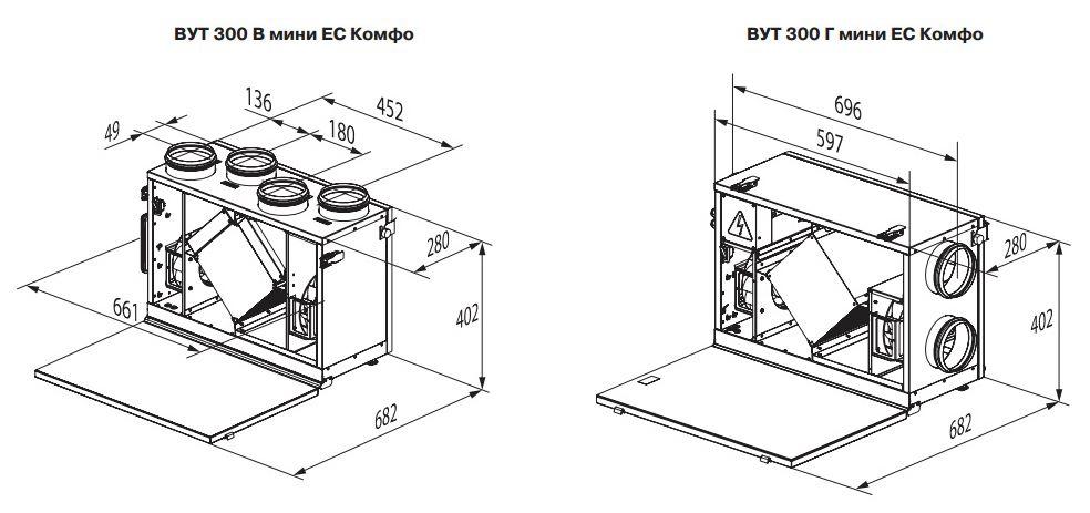 Габаритные размеры вентиляционной установки ВЕНТС ВУТ 300 Г мини ЕС Комфо