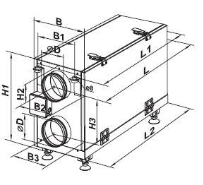 Габаритные размеры приточно вытяжной системы VENTS ВУТ 300 Г мини