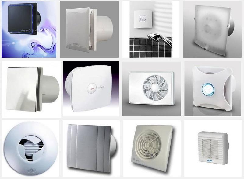 Разнообразные вытяжки и вентиляторы для ванной комнаты